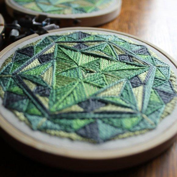 Geometric Mandala Hand Embroidered Textile Art